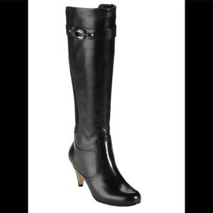 """Cole Haan """"Lana"""" knee high black leather boots"""